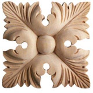 Schnitzornament Massivholz 90 x 90 x 15 mm Linde Massivholz