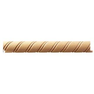 Spiralstab 26 x 12 mm, halbrund Buche roh Länge 2440 mm